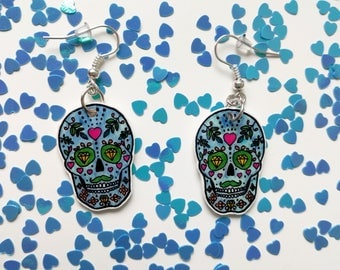 Blue skulls with diamonds