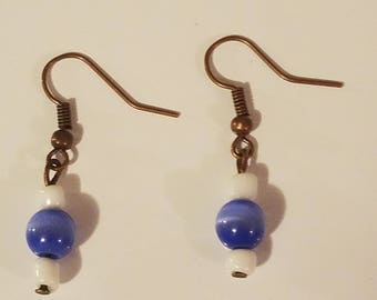 Blue/white glass bead earrings with bronze hooks