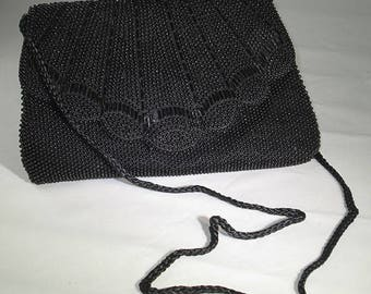 Vintage 1980s Black Beaded Evening Bag with Butterfly Flaps