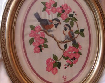 Vintage Framed Oval Crewel and Embroidery Sparrows and Cherry Blossoms Picture