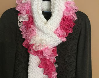 Handmade White and Pink Scarf with Ruffle Accent