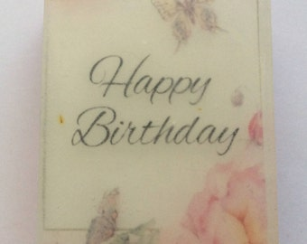 Handmade organic soap, happy Birthday image soap, picture soap