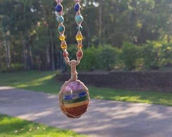 7 Chakra Macrame Necklace