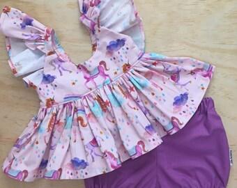 TOP ONLY - Pink unicorn top, flutter-sleeve top, handmade girls top, handmade peplum, toddler peplum, girls peplum, unicorns, rainbow