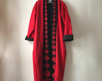 beautiful floor length cocoon wool coat by The Daily Planet, made in Nepal, L