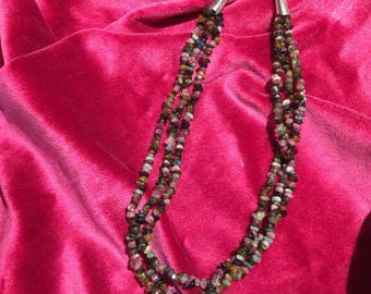 Three strand multi colored beaded necklace