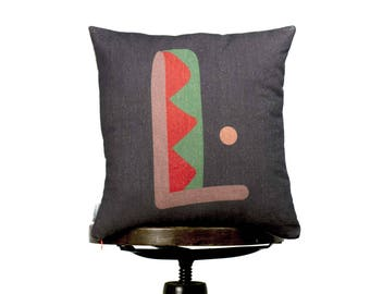 Funny bright color Pillow cover with letter L, Anthracite, Monogram cushion, Multi-Coloured, kids room pillows, nursery cushions