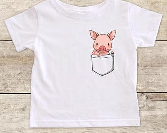 Pig in a Shirt Pocket funny baby bodysuit baby shower gift - Made in USA - toddler kids youth shirt
