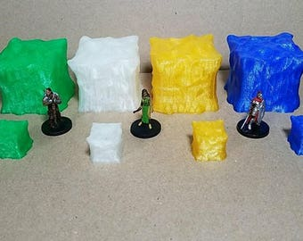 8 piece Gelatinous Cube set for D&D Dungeons and Dragons Pathfinder 28mm miniatures dungeon terrain tabletop wargames fantasy RPG
