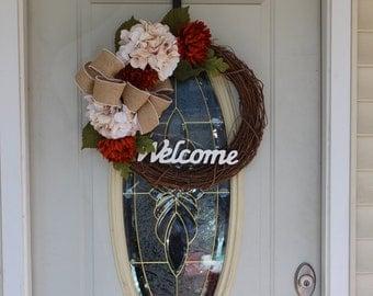 Welcome Wreath, Fall Wreath, Front Door Wreath, Floral Wreath, Wreath for Front Door, Autumn Wreath, Hydrangea Wreath