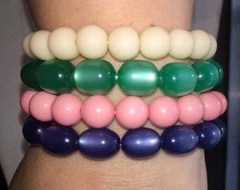 4 Stackable Beaded Bracelets: Cream, Moonglow Emerald, Bubblegum Pink and Moonglow Royal Blue