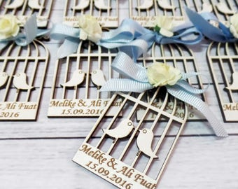10 Wooden Bird Cage Magnet Wedding Favors - Laser Engraved Personalized Favors- Blue Favors- Save the Date Magnets- Thank you Favors