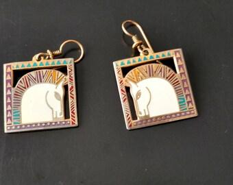 Vintage Laurel Burch Gold Tone EQUUS Horse Earrings
