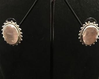 Rose quartz earrings in 925 silver