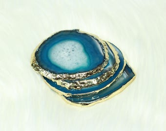 Blue Agate Coasters with Gold Edges