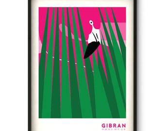 Flamingo Nouveau Art Print