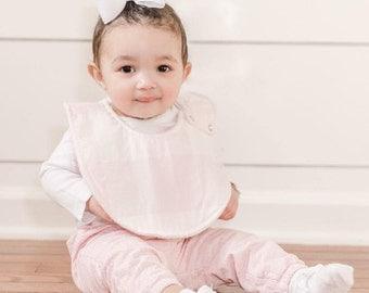 Baby Pink & White Check Bib