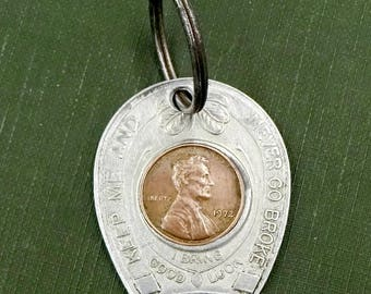 Vintage Lucky Penny Horse Shoe Key Chain 1972 Souvenir of Strasburg Rail Road Pennsylvania