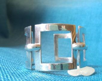 Sterling Modern Geometric Cuff Bracelet – 925 Silver – Statement Bracelet – Silver Jewelry - Modern Design - Cuff Bracelet - Great Design