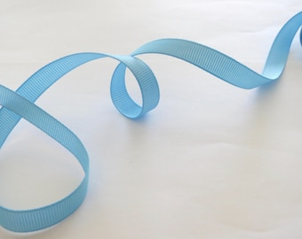 "Blue Topaz 3/8"" 10mm Grosgrain Ribbon 5 yards for Hair Bows Scrapbooking Crafts Party Cake Birthday Decoration"