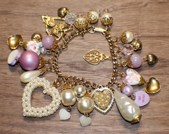"Heart Charm Bracelet - ""Be Mine 2"" - Brass - Mega Charm Collection - Recycled - Upcycled - Valentine's Day - Goldtone Pearl"