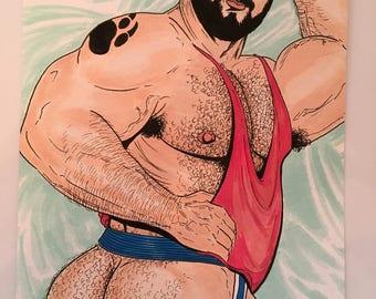 GAY BEAR ART Big Butt Jockstrap Tattoo Hairy Bearded Muscle Dude Male Illustration Full Colour Original Cheeky & Sexy