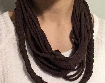 T Shirt Necklace- Brown & Pink Recycled T Shirt Necklace - Eco Jewelry - Upcycled T shirt scarf