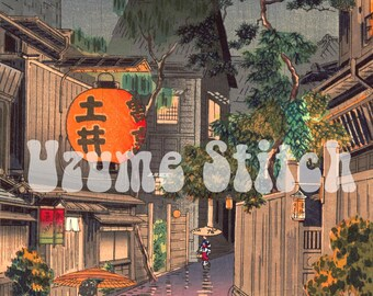 "Japanese art Cross Stitch Pattern for Instant Download, ""Ushigome Kagurazaka"" by Tsuchiya Kouitsu,ukiyo-e cross stitch chart"