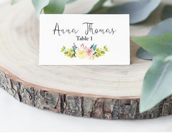 Wedding Place Cards, Bouquet, Wedding Place Card Printable, Place Card Template, Wedding Printable, Rustic Wedding, DIY Instant Download F4