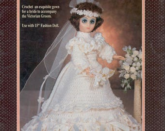 Wedding Dress Barbie Crochet , Doll Clothes Vintage Crochet Patterns - Barbie Bride Crochet Ebook - PDF - Instant download