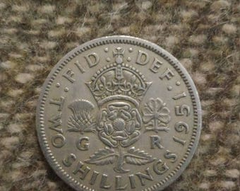 1951 Two Shilling coin