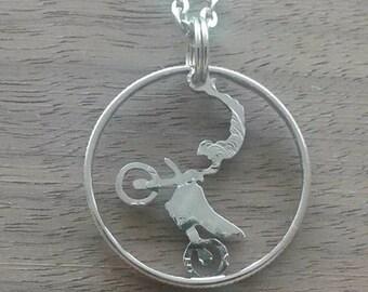 Coin jewelry, Quarter dollar USA-Dirt Biker