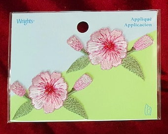 Flower Applique - Iron-On Applique - Pink Flower Patches - Wrights Applique - Sew-On Patches