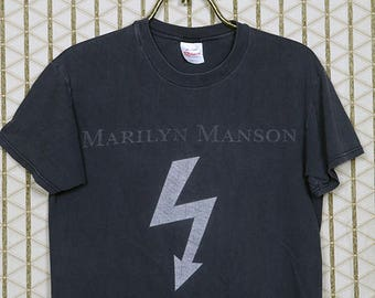 Marilyn Manson vintage rare T-shirt, faded black tee shirt, industrial rock, shock, metal, goth gothic, Antichrist Superstar