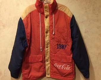 Rare 1980s Coca Cola puffer hooded jacket