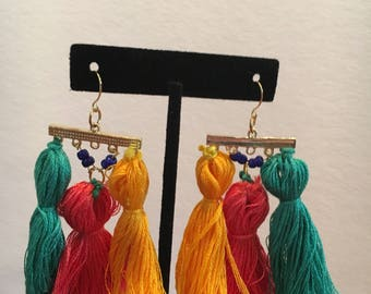 Three-Tassel earrings