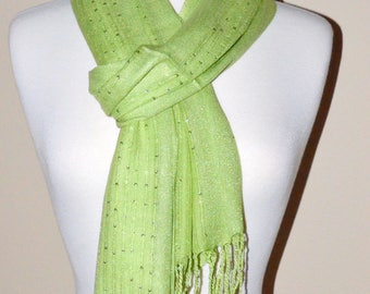 Olive Green Soft Rayon Shimmery Sequence Scarf