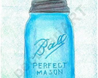 Ball Mason Watercolor