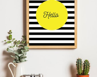 "Printable "" Hello "" in Yellow,Black and White, a4, A2, A3, A5, poster, Decor"