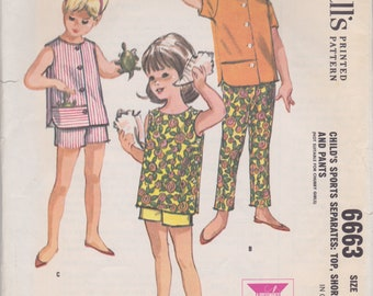 Vintage 1960s sewing pattern -- little girls' shorts, pants, and top size 6