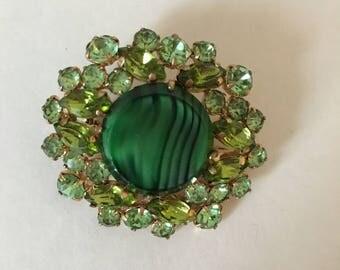 Green Goddess Austrian Brooch
