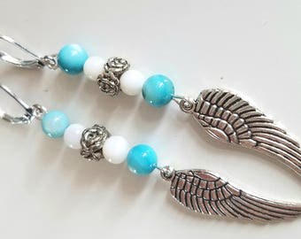Angel Wing Earrings with Rose Accent and Seashell Beads