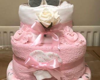 Pink Bunny nappy cake