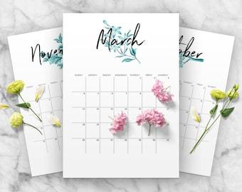 2018 Teal Calendar Printable, Floral Planner, A4, Letter Size, Yearly Planner Calendar, Monthly Calendar, Digital, Modern Mint Green Teal