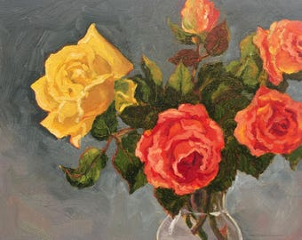 Original oil painting of roses from my garden