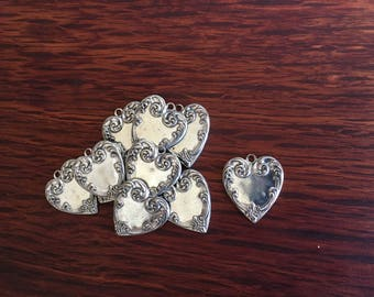 10 Vintage Pewter Art Deco Heart Charms