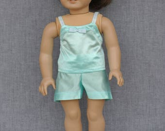 Handmade, Uniquely-Designed Blue Pajama Set for American Girl / 18-inch Doll