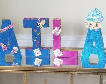 Custom Kids SHOPKINS Themed Paper Mache Letters Raspberry Blue & Gold Metallic Glitter