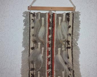 Woven wall hanging hand-woven Bulgarian folk art tapestry