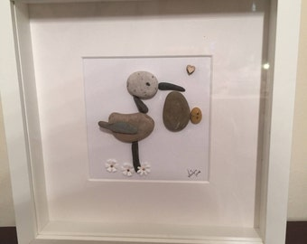 Pebble art stork with baby , new baby ,